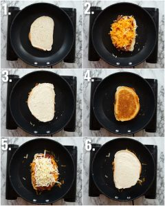 6 step by step photos showing how to make double decker grilled cheese