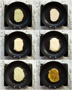 6 step by step photos showing how to make garlic bread grilled cheese