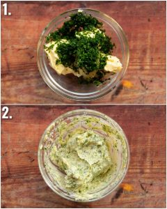 2 step by step photos showing how to make garlic butter