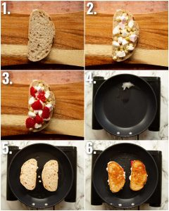 6 step by step photos showing how to make raspberry sandwiches