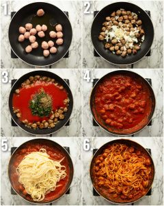 6 step by step photos showing how to make spaghetti meatballs