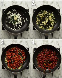 4 step by step photos showing how to pan fry chorizo