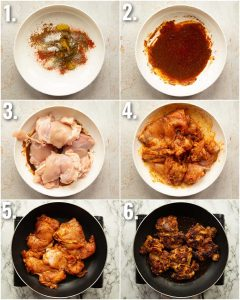 6 step by step photos showing how to fry chicken thighs