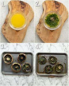 4 step by step photos showing how to make garlic butter portobello mushrooms