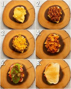 6 step by step photos showing how to make a nacho sandwich