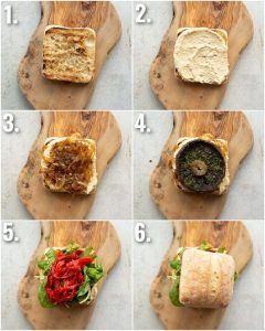6 step by step photos showing how to make a portobello mushroom sandwich