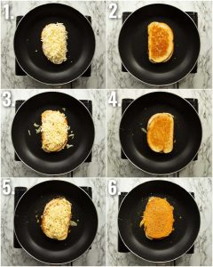 6 step by step photos showing how to make an inside out grilled cheese