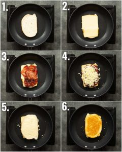 6 step by step photos showing how to make a bacon grilled cheese