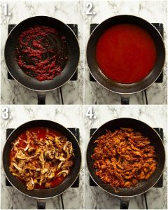 4 step by step photos showing how to make chicken for nachos