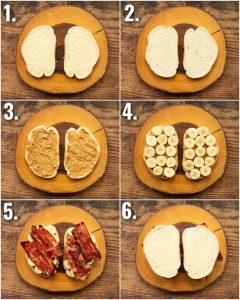 6 step by step photos showing how to make the Elvis sandwich