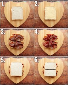 6 step by step photos showing how to make the perfect bacon sandwich