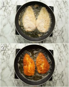 2 step by step photos showing how to shallow fry chicken