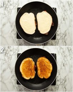 2 step by step photos showing how to toast the Elvis sandwich